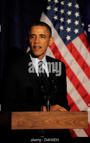 Washington DC, USA. 13th March 2013. United States President Barack Obama delivers remarks at the Organizing for - Stock Photo