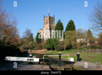Staffordshire and Worcestershire Canal with parish church Kidderminster Worcestershire England UK - Stock Photo
