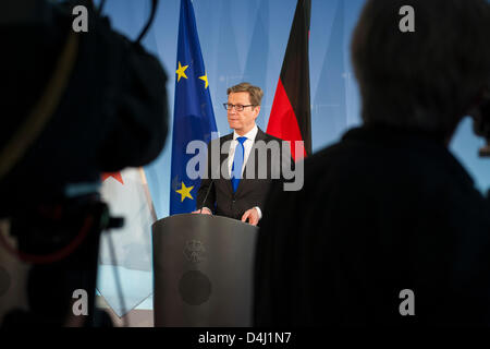 Algerian Foreign Minister, Mourad Medelci, meet today with German Foreign Minister Guido Westerwelle for a bilateral - Stock Photo