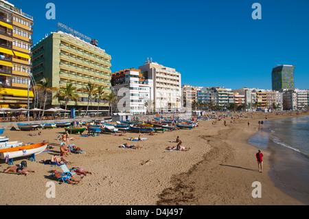 Playa de las Canteras beach at La Puntilla area Las Palmas de Gran Canaria island the Canary Islands Spain Europe - Stock Photo