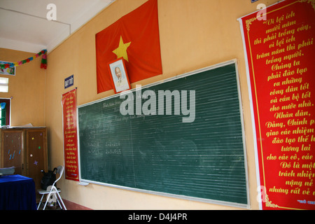 school in Catcat Cultural Village near Sapa Vietnam - Stock Photo