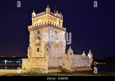 Belem Tower (Torre de Belem) is a fortified medieval tower located at the mouth of the Tagus River in Lisbon, Portugal. - Stock Photo