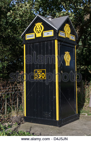 Automobile Association (AA) emergency Box 530 on the A149 coast road near Brancaster in Norfolk, England - Stock Photo