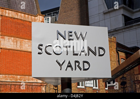 New Scotland Yard sign in London - Stock Photo