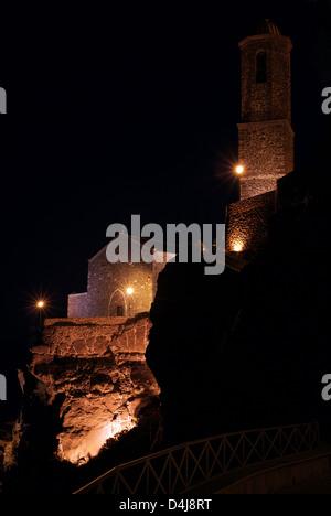 Castelsardo, Italy illuminated Cathedral of Sant 'Antonio Abate at night - Stock Photo