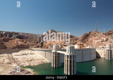 Hoover Dam near Boulder City at the border between Nevada and Arizona, USA - Stock Photo