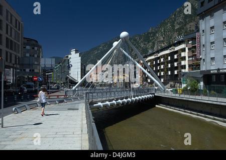 Andorra la Vella, Andorra, Pont de Paris bridge over the river Gran Valira - Stock Photo