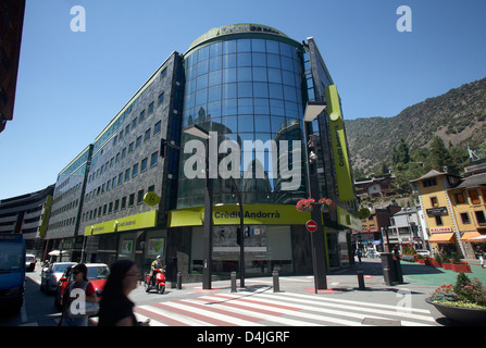 Andorra la Vella, Andorra, Administrative Building of the private bank Banca Credito Andorra - Stock Photo