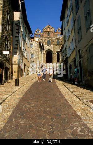 Le Puy en Velay, departure of Saint Jacques de Compostelle way, cathedral Notre Dame, Haute Loire, Auvergne, France, - Stock Photo