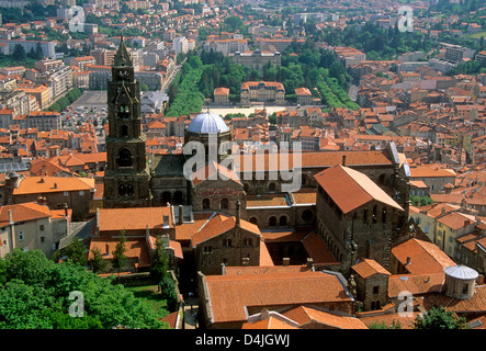 Le Puy en Velay / Le-Puy-en-Velay, and its cathedral Notre Dame and old city, Haute Loire, Auvergne, France, Europe - Stock Photo