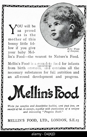 Original 1920s period vintage advertisement print from English magazine advertising MELLIN'S FOOD of London for - Stock Photo