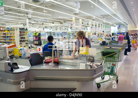 Colmar, France, in a Leclerc supermarket checkout - Stock Photo