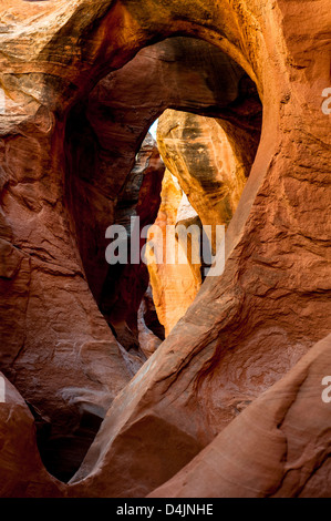 Arch inside Peek-A-Boo Slot Canyon at Hole in a Rock Road in Grand Staircase National Monument, Utah, USA - Stock Photo