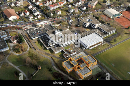 View of the secondary school ?Albertville?, where a rampage shooting has taken place, in Winnenden near Stuttgart, - Stock Photo
