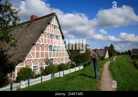 Altes Land, framed old farmhouse at Este dike in Jork-Koenigreich, Lower Saxony, Germany - Stock Photo