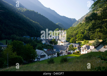 Evening sunlight on the village of Gedre in the Pyrenees National Park, France - Stock Photo