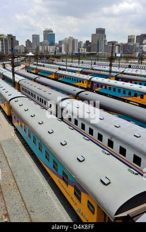View of stabled trains seen from the Nelson Mandela Bridge in the city centre of Johannesburg, South Africa, 22 - Stock Photo