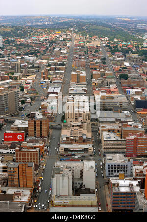 View of a part of Johannesburg seen from the viewing platform on the 50th floor of the Carlton Centre in Johannesburg, - Stock Photo