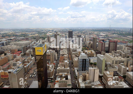 View of Johannesburg seen from the viewing platform on the 50th floor of the Carlton Centre in Johannesburg, South - Stock Photo