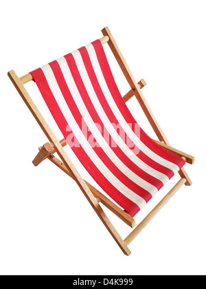 Beach chair isolated on white - Stock Photo