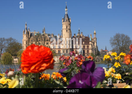 View over the garden of Schwerin?s palace, the central veneue of the 2009 German Federal Horticultural Show (BUGA), - Stock Photo