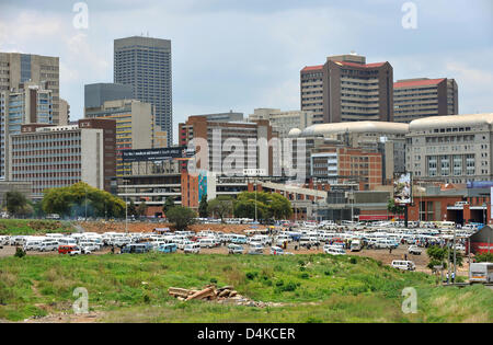 The picture taken from Mandela Bridge shows the big stopping place for shared taxis in the city centre of Johannesburg, - Stock Photo