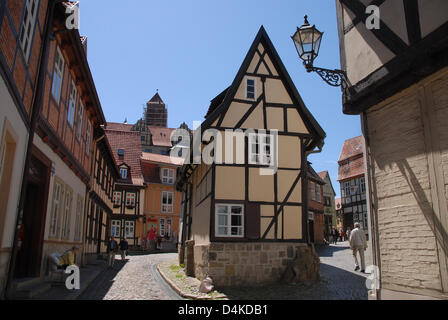 View on half-timbered houses in Quedlinburg, Germany, 13 June 2009. The historic city located at the fringes of - Stock Photo