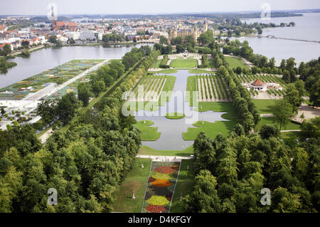 Aerial view on the premises of the 2009 German Federal Horticultural Show (BUGA) in Schwerin, Germany, 17 July 2009. - Stock Photo