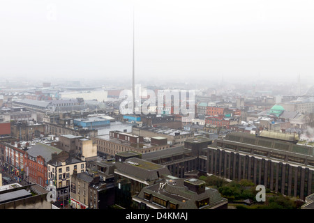 Dublin, Ireland - March 07, 2013: Aerial shot of Dublin city centre on a typical fogy day. - Stock Photo