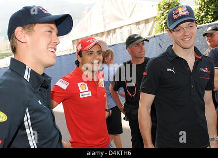 German Formula One driver Sebastian Vettel of Red Bull (L-R), Brazilian Formula One driver Felipe Massa of Ferrari - Stock Photo