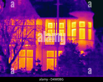 Thermal image of houses on city street - Stock Photo