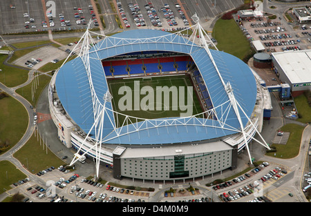 aerial view of Bolton Wanderers FC University of Bolton Stadium, formerly Macron and Reebok Stadium - Stock Photo