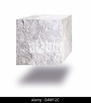 Stone cube floating in air against white background - Stock Photo