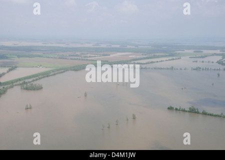 Flooding near Cairo, Ill., and Bird's Point, Mo. - Stock Photo