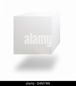 Paper cube floating in air over white background - Stock Photo