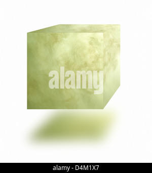 Poisonous gas cube floating in air over white background - Stock Photo