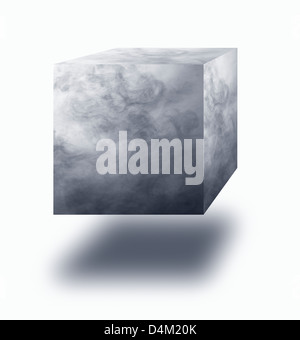 Vapor cube floating in air over white background - Stock Photo