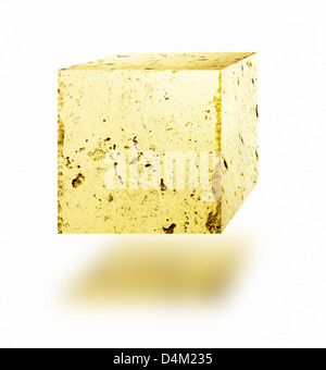 Gold nugget cube floating against white background. - Stock Photo