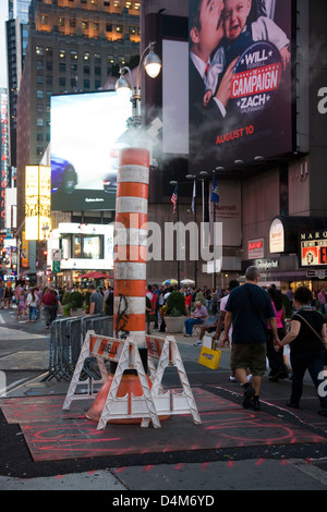 Steam vent in the street near Times Square, New York - Stock Photo