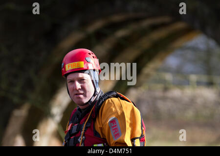 Swiftwater and Flood Rescue Technician course. Trainee Firemen at Devil's Bridge in Kirby Lonsdale, England Friday - Stock Photo