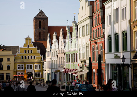 Wismar, Germany, the Kraemer Street in the historic town of Wismar - Stock Photo