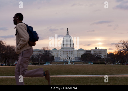 Early morning commuter at the US Capitol - Washington, DC USA - Stock Photo
