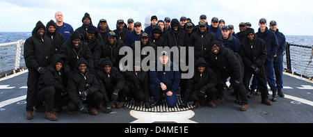 Nigerian Navy introduced to Coast Guard cutter prior to receiving - Stock Photo