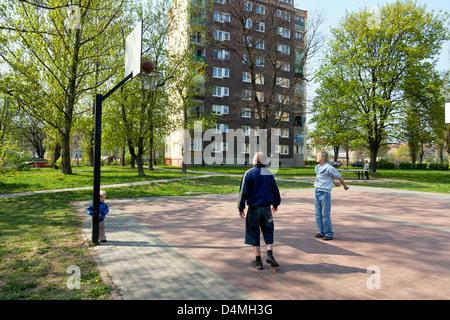 Gdansk, Poland, teenagers playing basketball - Stock Photo