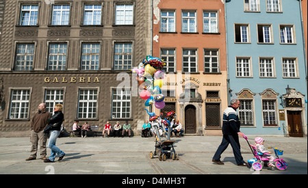 Gdansk, Poland, Long Street in the Old Town of Gdansk - Stock Photo