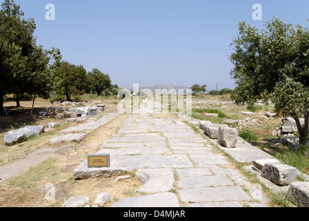 Samos. Greece. Final section of the stoned paved Sacred Way, which linked the ancient city (now Pythagorien) to - Stock Photo