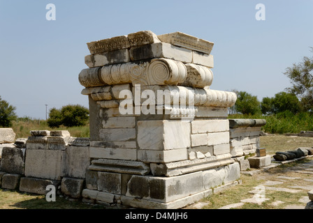 Iraion. Samos. Greece. The monumental altar of Rhoikos which originally was built in the 6th century BC. - Stock Photo