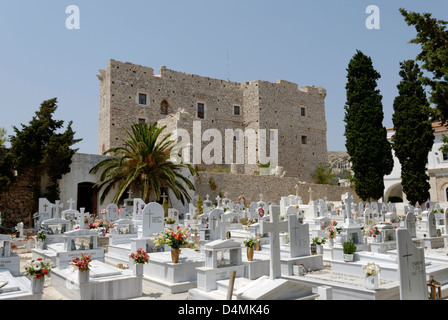 Samos. Greece. The Church of Metamorfosis cemetery and the Byzantine castle Kastro at the town of Pythagoreio. - Stock Photo