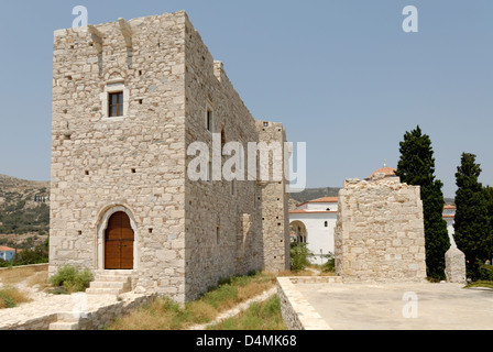 Greece. Samos. Pythagoreio. The tower of the Byzantine castle Kastro, which served the Struggle for independence. - Stock Photo