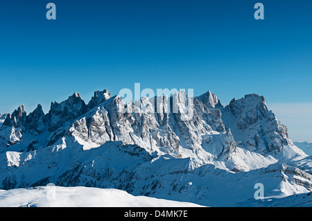 Alps Gruppo Pale San Martino winter snow Trentino - Stock Photo